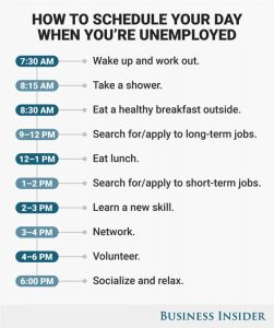 How to schedule your day when you are unemployed