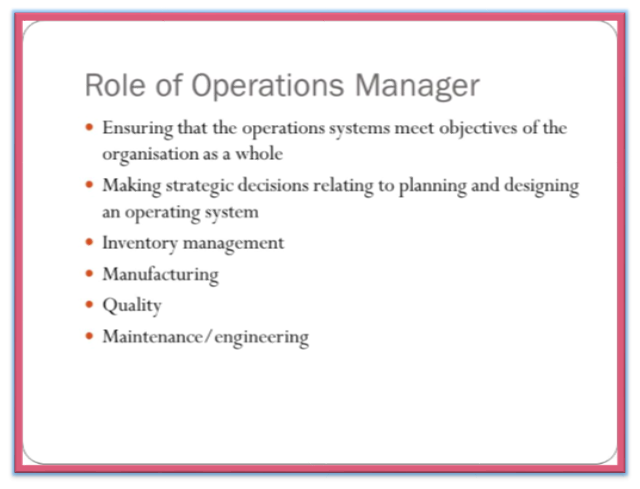 Role Of An Operations Manager Management Guru