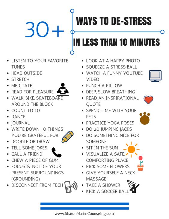 30 ways to destressing the self in less than ten minutes